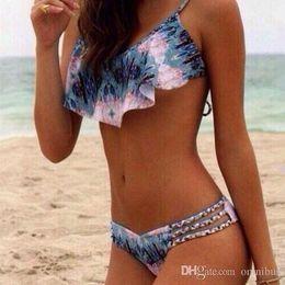 Padded Blue Bikini Swimwear Australia - New Womens Print Push Up Padded Swimwear Bikini Set Swimsuit Beachwear Bathing WD