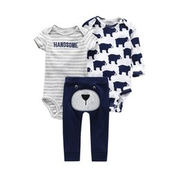 $enCountryForm.capitalKeyWord Australia - 2019 Worsted Animal New Real Boys Suits Baby Clothing 3-pieces Newborn Girl Set Short Sleeve O-neck Children 100% Cotton Sets J190520