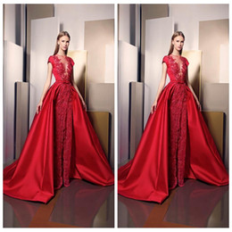 $enCountryForm.capitalKeyWord Australia - 2019 Ziad Nakad Split Evening Dresses Sheer Illusion Plunging Neckline Cap Sleeves Sheath Prom Party Gowns Sweep Train Lace Appliques