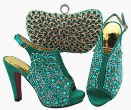 $enCountryForm.capitalKeyWord UK - High quality teal women pumps and bag set with colorful crystal decoration african shoes match handbag for dress QSL005,heel 12cm