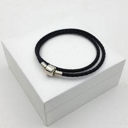 $enCountryForm.capitalKeyWord NZ - Real Black Double Layer Leather Bracelet Fashion Women 925 Sterling Silver Bracelets Fit Pandora Charms Beads Jewelry Men Bangle Bracelets