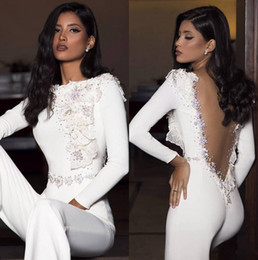Red see thRough long sleeves online shopping - White Lace Sheath Long Prom Dresses Jumpsuit Long Sleeve Tulle D Lace Applique Beaded Seen Through Back Formal Evening Party Dresses