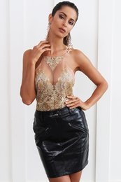 $enCountryForm.capitalKeyWord NZ - Transparent Embroidery Camisole Tank Top Women Summer Sexy Crop Top Lace Up Backless Gold Party Top Hollow Out Cami