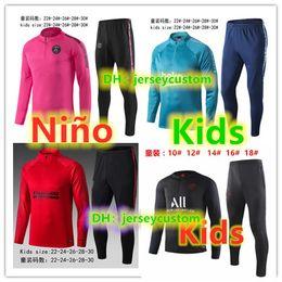 Kids football suits online shopping - 19 survetement Enfant soccer jersey tracksuit soccer kids training suit football shirt maillot de foot jacket jogging tracksuit
