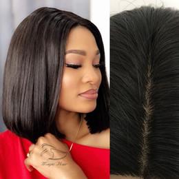 Hair Black Bob Silky Australia - Short Human Hair Bob Wigs Brazilian Lace Front Human Hair Wigs For Black Women Remy Straight 130% 4x4 Silk Base Closure Wig