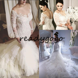 arabic wedding dresses women UK - Luxurious Plus Size Mermaid Wedding Dresses For Arabic Women Sheer Long Sleeves Lace Appliques Covered Buttons Court Train Bridal Gowns
