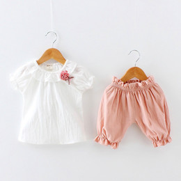 Crystal Flowers Clothes Australia - Little Girls Linen Cotton Clothes Kids Suits 2pcs Designer Kids Summer Comfortable Toddler Solid Short Sleeve Flower Tee and Shorts Set