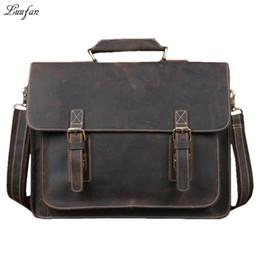 "$enCountryForm.capitalKeyWord Australia - Luufan Men's Vintage genuine leather laptop bag Cow leather business bag 15"" PC crazy horse briefcase Men Portfolio Tote"