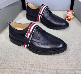 $enCountryForm.capitalKeyWord Australia - 2019 spring fall Designer Luxury Fashion black real leather lace up with canvas Monk-strap Brogers Oxfords Dress Shoe