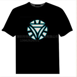 Discount el light clothing - Mens Summer Printed Tshirts Sound Control Music Light Emitting Short Sleeve Tshirt Light Emitting Diode Marvel Movies Ma