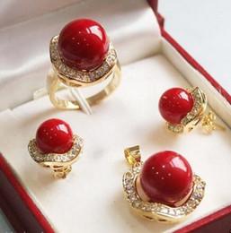 $enCountryForm.capitalKeyWord Australia - Prett Lovely Women's Wedding New Jewelry Fashion Luxury Banquet red shell Set > GP Bridal wide watch