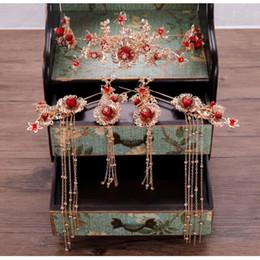 vintage bridal hair jewelry 2019 - 7pcs Vintage Chinese Tassel Crown Hair Clip Hairpin Earrings Wedding Bridal Bridesmaid Hair Jewelry Photo Prop cheap vin