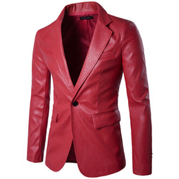 Ingrosso Giacca in pelle rossa PU Blazer Uomo 2019 Brand New Wedding Party Mens Suit Jacket Casual Slim Motorcycle Faux Leather Suit Homme