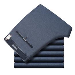 Men Grey Khaki Trousers Australia - Icpans Mens Suit Pants Summer Men Dress Pants Straight Business Office Mens Formal Pants Big Size Classic Trousers Male Y190422