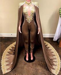 $enCountryForm.capitalKeyWord Australia - Krikor Jabotian Jumpsuits Evening Dresses With Detachable Cloak Prom Gowns Pants for Women Custom Made Lace Velvet