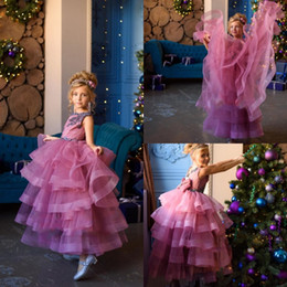 $enCountryForm.capitalKeyWord Australia - Purple Flowers Girls Dresses Lace Appliques Tiered Skirts With Bow Princess Pageant Gowns For Wedding Party Evening Toddlers Formal Wear
