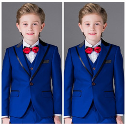 $enCountryForm.capitalKeyWord Australia - Royal Blue Boys Suits for Wedding Celebration Formal Costume for Kids 2019 Children's Peak Lapel Tuxedos (Jacket+Pants+Vest) 3 Piece