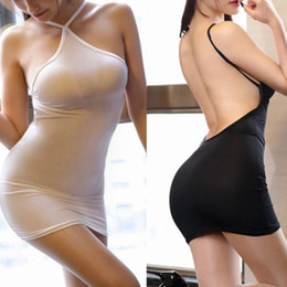 Wholesale sexy tight silk dresses for sale – plus size Sexy Women Bodycon Tight Dress Transparent Night Club Erotic Wear Thin Ice Silk See Through Strip Halter Backless MINI Dress