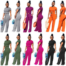 $enCountryForm.capitalKeyWord Australia - Women Designer Tracksuit Short Sleeve T Shirt Crop Top + Wide Leg Pants Trousers 2 Piece Set O-neck T-shirt Outfits Fashion Suit Clothing XL