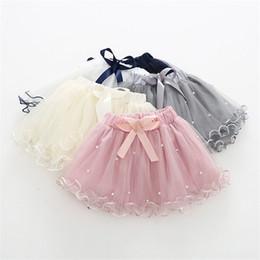 little girls fashion tutu skirts 2019 - 5 Colors Little Girls Tutu Skirt Princess Gauzy Skirt Pearl Bow Designs Mini Lovely Children Girls Ruffles Party Dresses