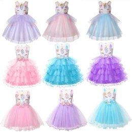 Baby Girls 3d Tutu Australia - Unicorn Lace Tutu Dresses 7 Styles Baby Girls 3D Floral Mesh Lace Sleeveless Dresses Princess Kids Cosplay Dress OOA6035