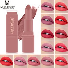 Discount longest lasting lip color New Matte Lipstick for Women Sexy Lips Color Cosmetics Waterproof Lipstick Long Lasting Miss Rose Lip stick
