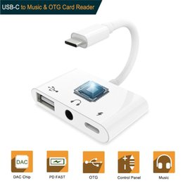 Card data Cable online shopping - 3 in Type C Adapter Audio Charger Splitter Dual USB C mm Music Call OTG card reader For Samsung S9