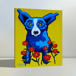 $enCountryForm.capitalKeyWord Australia - High Quality Handpainted & HD Print Modern Abstract Animal Art Oil Painting Blue Dog On Canvas Wall Art Home Office Deco a38