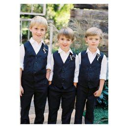 Custom Wool Suit Set Australia - Dark Blue Boy Suit Vest 2019 Wool Boys Formal Dresswear Vest Set tailored Kids Wedding waistcoat Two Piece Suit (Vest+Pants)