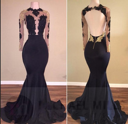 $enCountryForm.capitalKeyWord Australia - Black Mermaid Prom Dressess Jewel Sheer Long Sleeves Illusion Bodices Gold Appliques Sexy Backless Evening Dresses Long Cheap