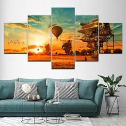 hot air balloon wall UK - Canvas Painting Hot Air Balloon Flying on the Sky 5 Pieces Wall Art Painting Modular Wallpapers Poster Print Home Decor