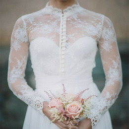 Jackets Custom Australia - Vintage High Neck White Ivory Front Buttons Wedding Jackets Lace Bridal Boleros Wraps Jacket Long Sleeves Custom Size 6 8 10+