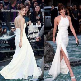 Plus size celebrity wedding dresses online shopping - 2019 New Celebrity Dresses Halter Neck Backless White Chiffon Side Split Floor Length Elegant Evening Prom Dresses