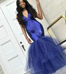 Wholesale Sexy Black Girl Sequined Prom Dresses Navy Blue Deep V Neck Evening Gowns Tulle Skirt vestidos de fiesta African Mermaid Party Dress