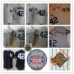 Vente en gros Hommes NCAA Mariano Rivera retraite Patch Jersey Cousu NY # 42 Mariano Rivera 2019 HOF chandails gris marine blanc S-3XL