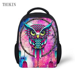 cool cartoon boys UK - THIKIN Cool Galaxy Owl Wolf Printing Children Backpack for Boy Cartoon Animals School Backpacks Kids Luminous Student Bags Girls
