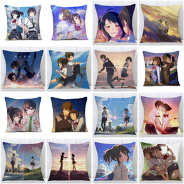 japanese cartoon anime adult Australia - Fashion Cute Japanese Cartoon Anime Your Name Single Side Print Polyester Throw Pillow Cases Car Sofa Cushion Cover Home Decor