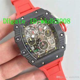 Discount titanium swiss men watch - Hot Selling Luxury Brand Swiss ETA7750 Automatic Chronograph Movement Carbon Fiber Men Wristwatch Rubber Strap Man Watch