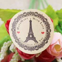 Wholesale 2000pcs mm kraft gift labels printed Eiffel tower gifts jewelry cookies handmade favors decoration label custom logo cost extra