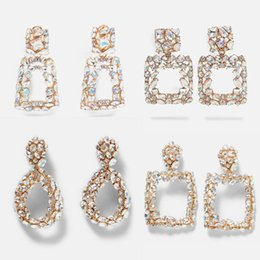 bridal earrings NZ - Dvacaman ZA Shine AB Crystal Drop Earrings for Women Geometric Rhinestone Big Statement Earrings Bling Wedding Bridal Jewelry