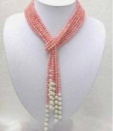 white freshwater pearl strand necklace UK - Wholesale beautiful 1 strands 50 inch coral pink freshwater pearl necklace