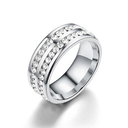 White Rose Crafts Australia - Really exquisite craft set diamond Europe and America titanium steel dot full drill double row ring ring ring popular new stainless steel ri
