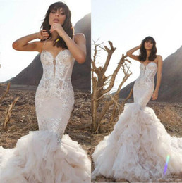 ivory pnina tornai wedding dresses UK - Pnina Tornai Mermaid Wedding Dresses Spaghetti Backless Lace Bridal Gowns With Beads Sweep Train Plus Size Beach Wedding Dress 3955
