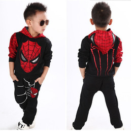 polyester vest pockets for men Canada - Spiderman Baby Boys Clothing Sets Sport Clothes Suit For Boys Spring Spider-Man Cosplay Toddler Kids Clothes Children Clothing