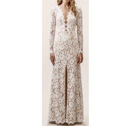 Plus Size Floor Length Dresses Vintage Australia - 2019 vintage champagne satin sheath wedding dresses sexy v neck floor length white lace wedding gowns long sleeves plus size bridal dresses