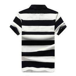 Polo Stripes Australia - New Mens Pure Cotton Short Sleeve POLO Shirt Fashion Stripe Short Sleeve Tshirt Mens Foreign Trade Large Collar Tshirt