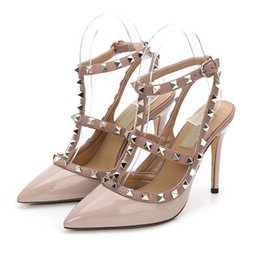 slingback heels 2019 - 2019 Designer Shoes sneakers So Kate with Studs High Heels 8 10 CM Genuine Leather Point Toe Pumps Rubber size 35-42 Wit