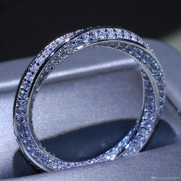 Micro Pave Wedding Ring NZ - Wholesale Stunning Simple Circle Ring Luxury Jewelry 925 Sterling Silver Pave Micro 5A Zirconia CZ Party Mobius Wedding Rings For Women Gift