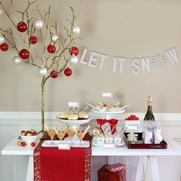 banner string 2019 - LET IT SNOW Banner Sliver Christmas Banner For Festival Decorative String Flag Banners DIY Home Decoration Garland Hangi