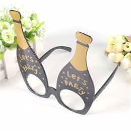 $enCountryForm.capitalKeyWord NZ - Black gold Funny Let's Party Champagne Bottle Party Favor Glasses Photobooth Props Costume Accessories Festival Party Supplies Decoration
